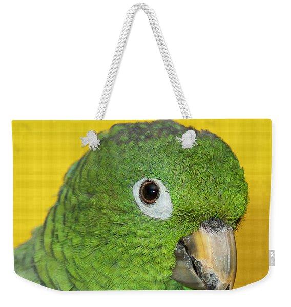 Green Parrot Head Shot Weekender Tote Bag