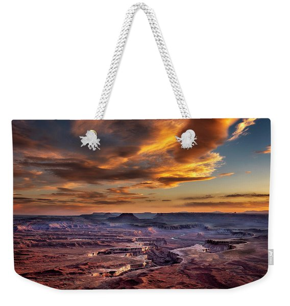 Green River Overlook At Sunset Weekender Tote Bag