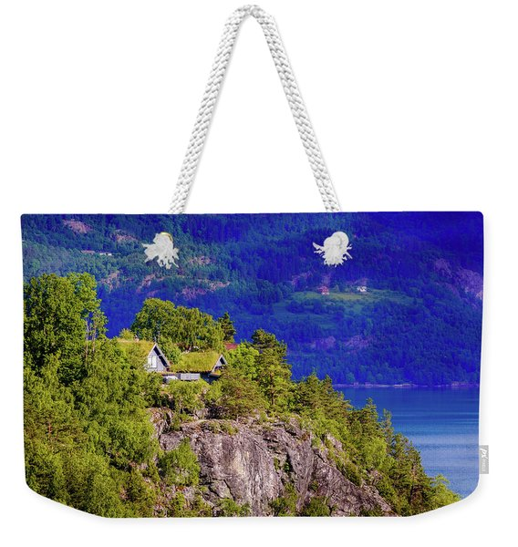 Weekender Tote Bag featuring the photograph Green Roofs Of Lustrafjorden by Dmytro Korol
