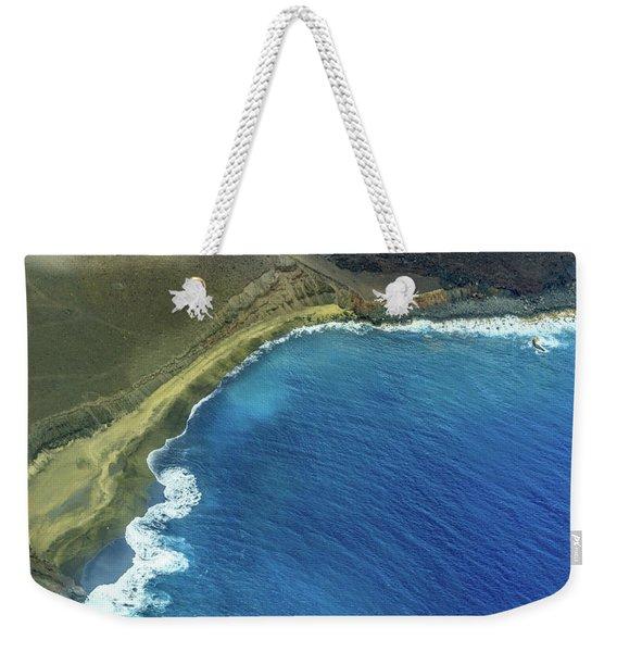 Green Sand Beach Aerial Weekender Tote Bag