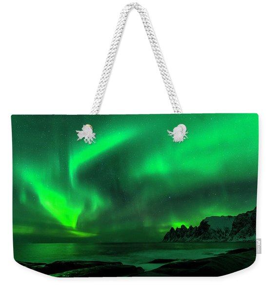 Green Skies At Night Weekender Tote Bag