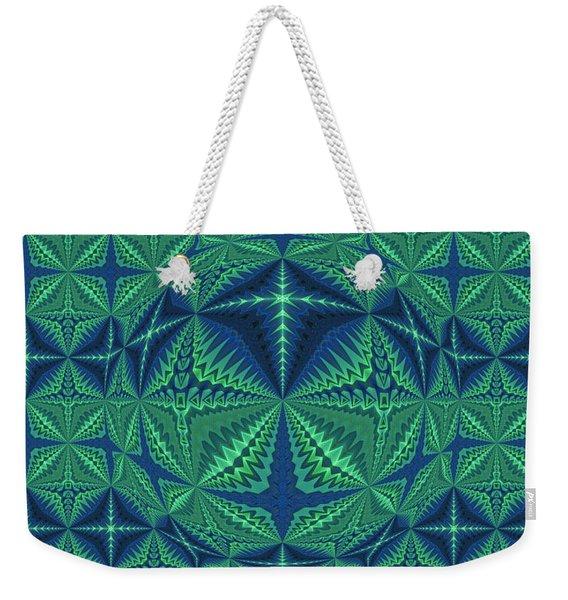 Green Symmetrical Pattern, Kaleidoscope Weekender Tote Bag