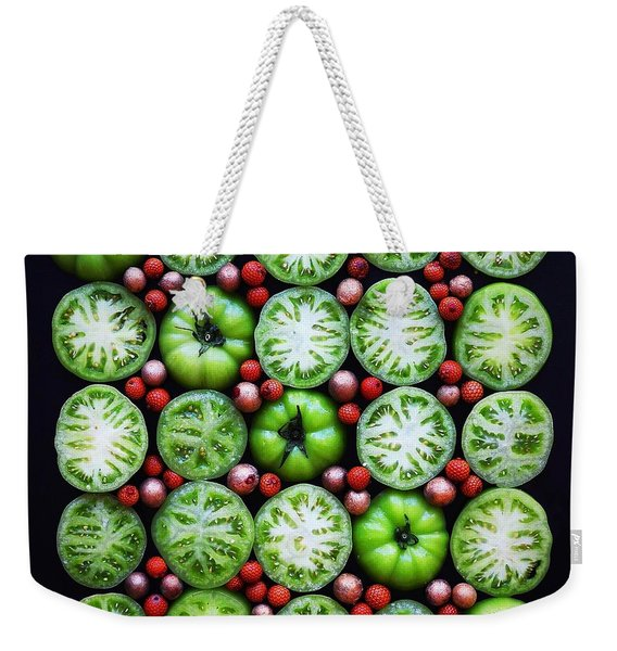 Green Tomato Slice Pattern Weekender Tote Bag