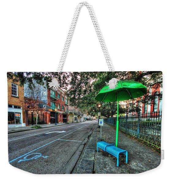 Green Umbrella Bus Stop Weekender Tote Bag