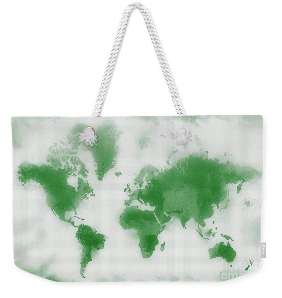 Green World Map Weekender Tote Bag
