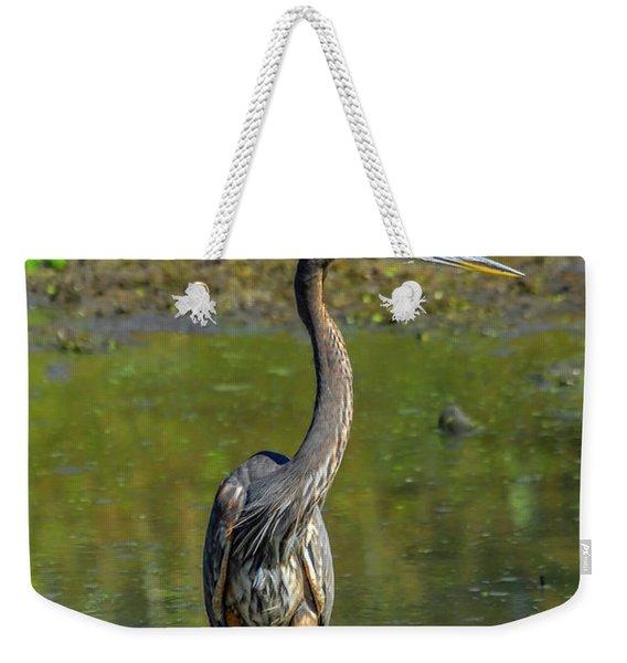 Gret Blue Heron In Pond Weekender Tote Bag