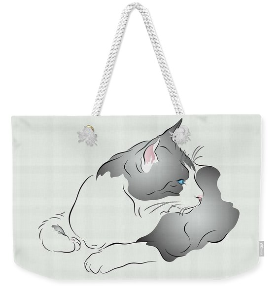 Grey And White Cat In Profile Graphic Weekender Tote Bag
