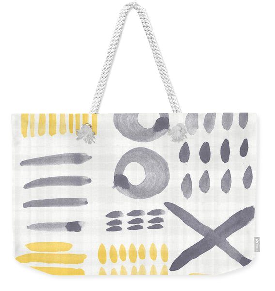 Grey And Yellow Shapes- Abstract Painting Weekender Tote Bag