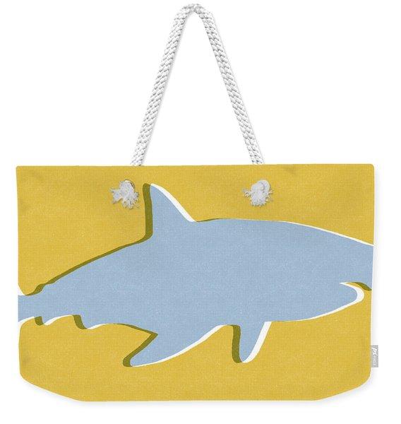 Grey And Yellow Shark Weekender Tote Bag