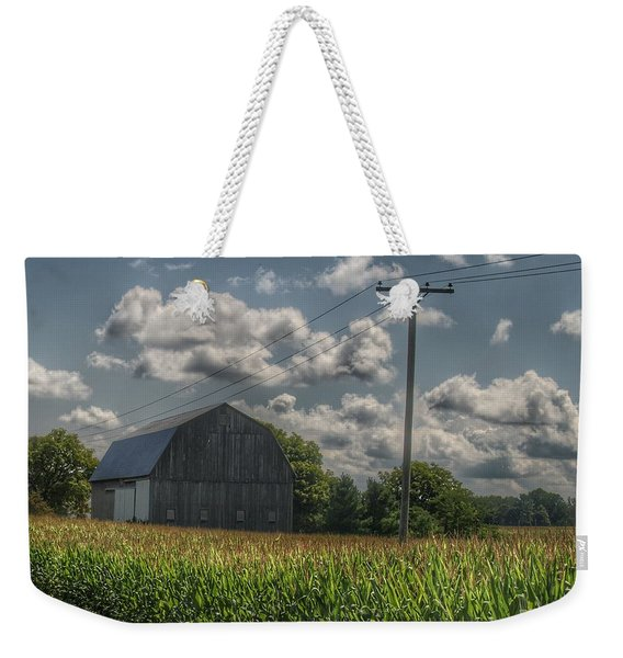 0013 - Grey Barn In A Cornfield Weekender Tote Bag
