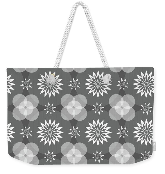 Grey Circles And Flowers Pattern Weekender Tote Bag