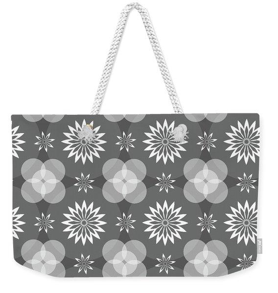 Grey Circles And Flowers Pattern Weekender Tote Bag