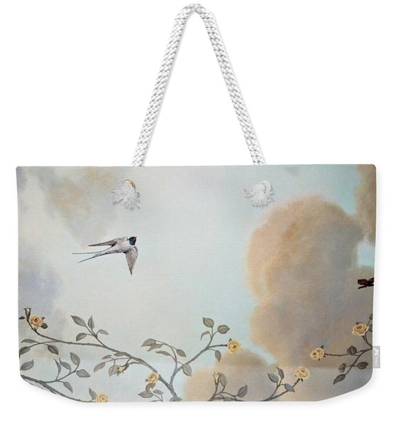 Grey Cloudy Flight By Dove Weekender Tote Bag