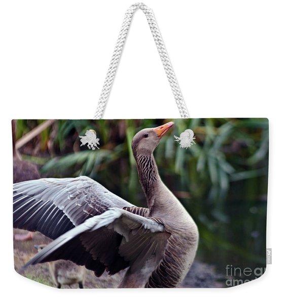 Greylag Goose Poetry Weekender Tote Bag