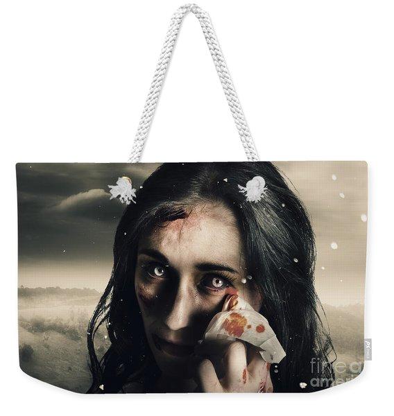 Grim Face Of Horror Crying Tears Of Blood Weekender Tote Bag