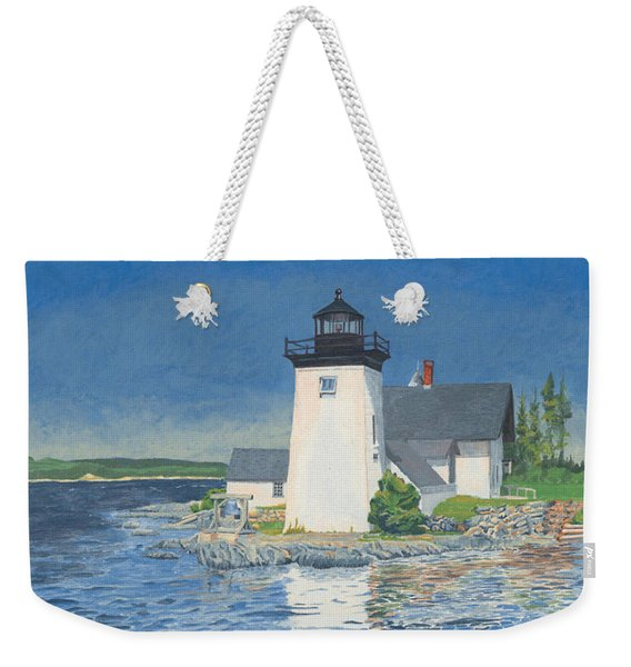 Weekender Tote Bag featuring the painting Grindle Point Light by Dominic White