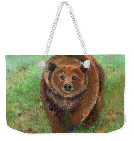 Grizzly In The Meadow Weekender Tote Bag