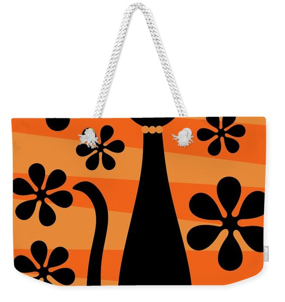 Weekender Tote Bag featuring the digital art Groovy Flowers With Cat Orange And Light Orange by Donna Mibus