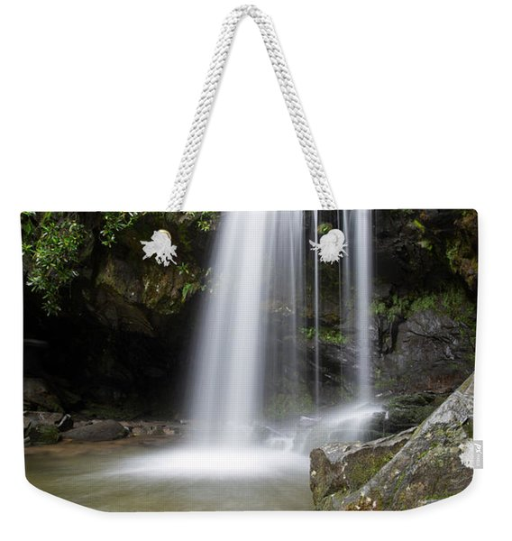 Weekender Tote Bag featuring the photograph Grotto Falls Vertical by Jemmy Archer