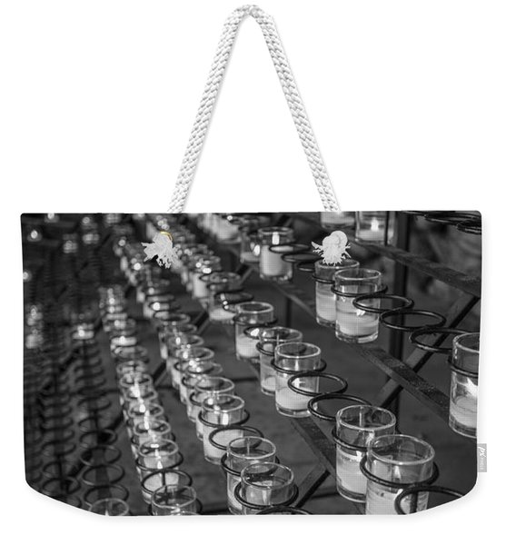 Grotto Of Our Lady Of Lourdes Candles Black And White  Weekender Tote Bag