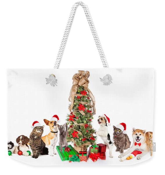 Group Of Cats And Dogs Around Christmas Tree Weekender Tote Bag