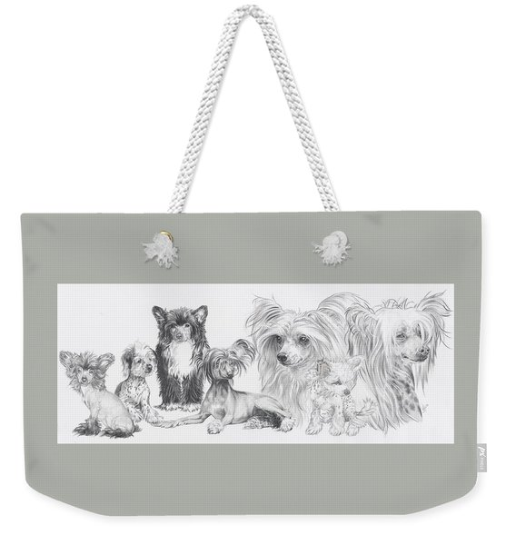 Weekender Tote Bag featuring the drawing The Chinese Crested And Powderpuff by Barbara Keith