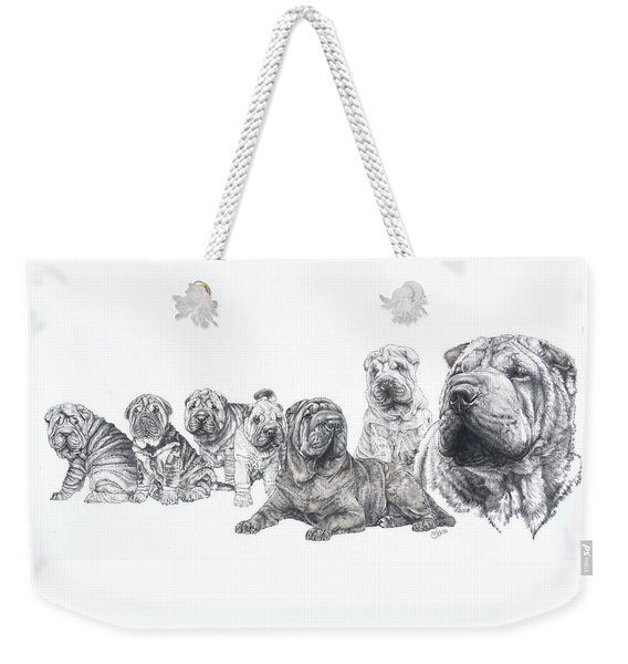 Weekender Tote Bag featuring the drawing Mister Wrinkles And Family by Barbara Keith
