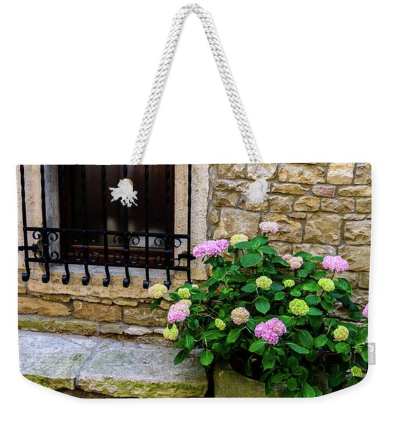 Groznjan Istrian Hill Town Stonework And Flowerpot - Istria, Croatia Weekender Tote Bag