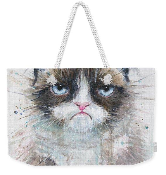 Grumpy Cat Watercolor Painting  Weekender Tote Bag