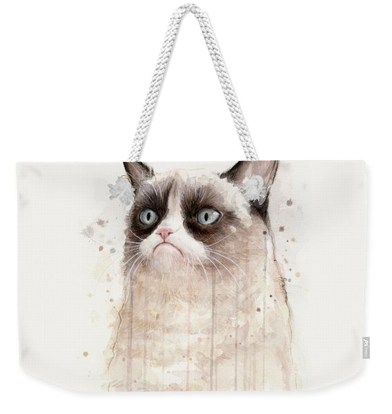 Grumpy Watercolor Cat Weekender Tote Bag