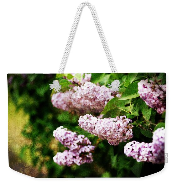 Weekender Tote Bag featuring the photograph Grunge Lilacs by Antonio Romero
