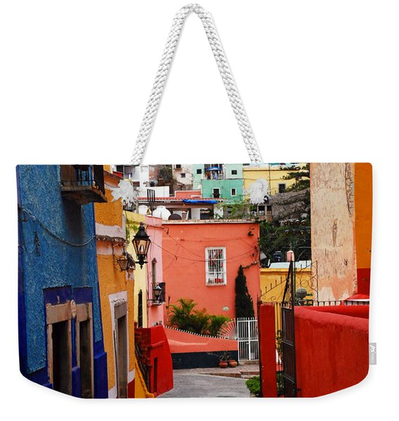 Weekender Tote Bag featuring the photograph Guanajuato Lane by Skip Hunt