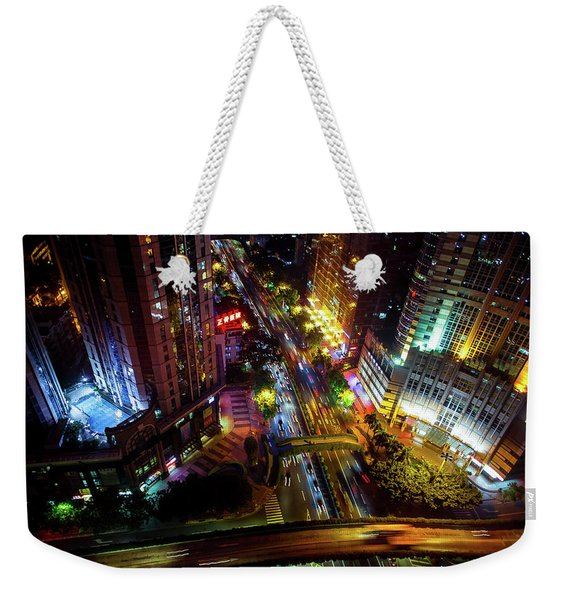 Guangzhou City Streets At Night Weekender Tote Bag