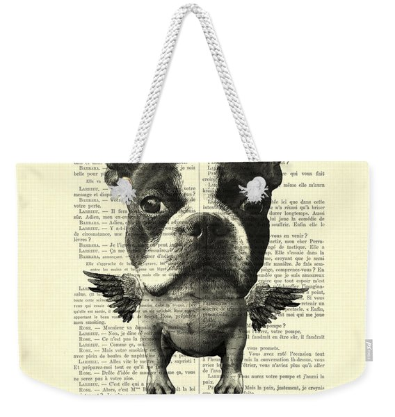 Boston Terrier With Wings And Red Crown Vintage Illustration Collage Weekender Tote Bag