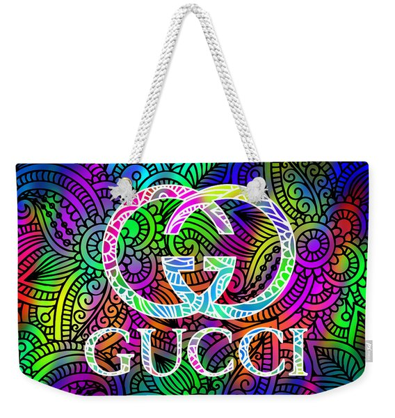 Gucci Multi Color With Pattern Background Weekender Tote Bag