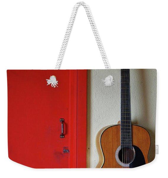 Guitar And Red Door Weekender Tote Bag