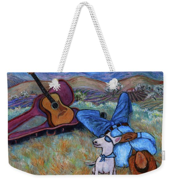 Guitar Doggy And Me In Wine Country Weekender Tote Bag