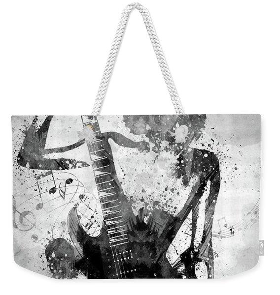 Guitar Girl Black And White Weekender Tote Bag
