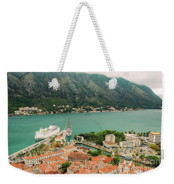 Gulf Of Kotor With Cruise Liner Weekender Tote Bag