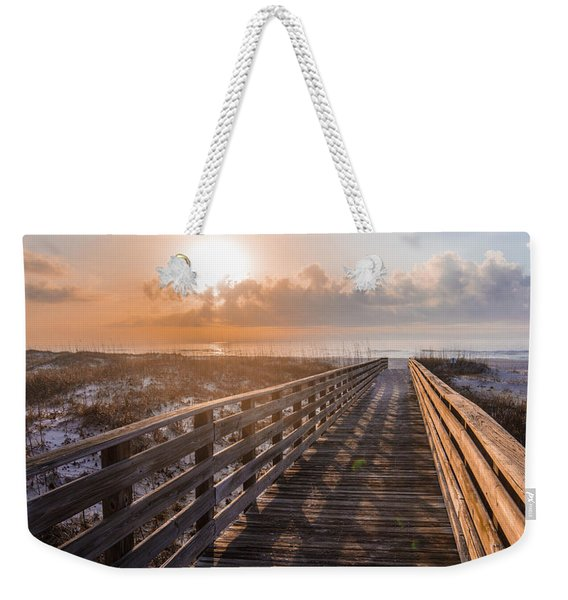 Gulf Shore Sunrise And Boardwalk Weekender Tote Bag