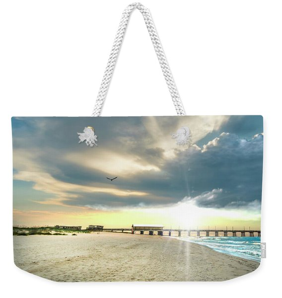 Gulf Shores Al Pier Seascape Sunrise 152a Weekender Tote Bag
