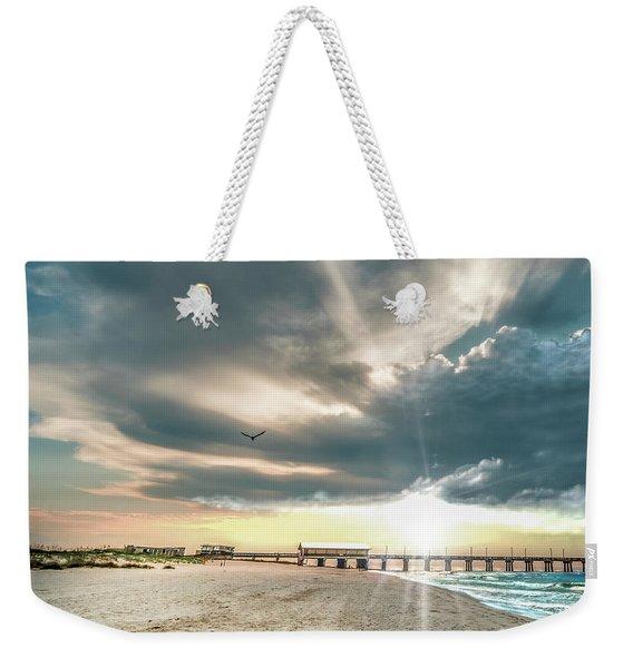 Gulf Shores Al Pier Seascape Sunrise 152c Weekender Tote Bag