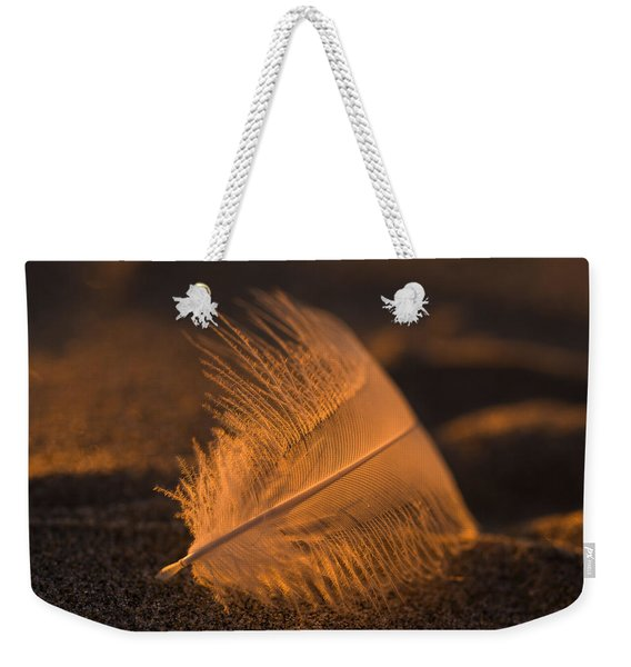Gull Feather At Sunset Weekender Tote Bag