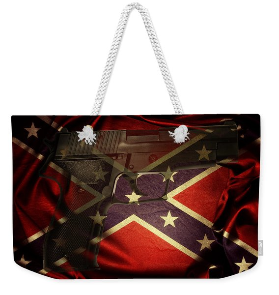 Gun And Confederate Flag Weekender Tote Bag