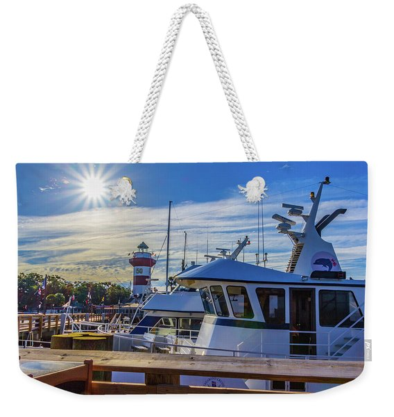 Habour Town Lighthouse And Marina Weekender Tote Bag