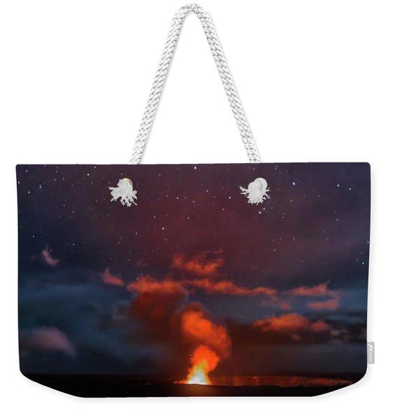 Halemaumau Crater At Night Weekender Tote Bag
