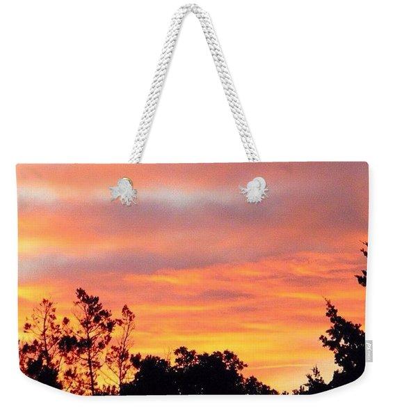 #halloween #morning #sky Is On #fire Weekender Tote Bag