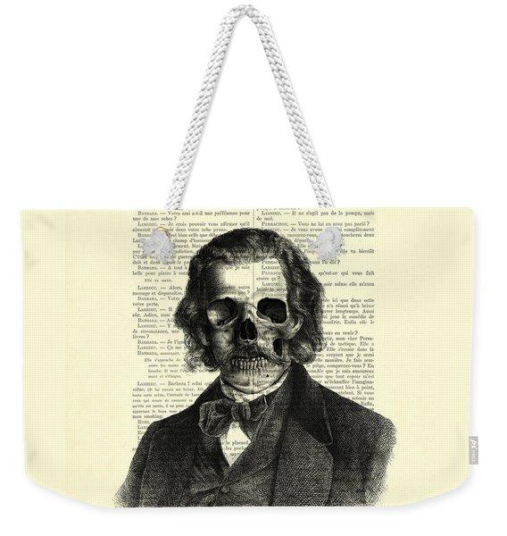 Halloween Skull Portrait In Black And White Weekender Tote Bag