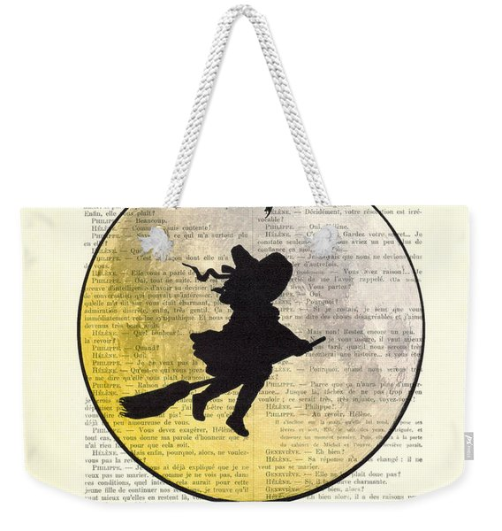 Witch Flying With Full Moon Weekender Tote Bag