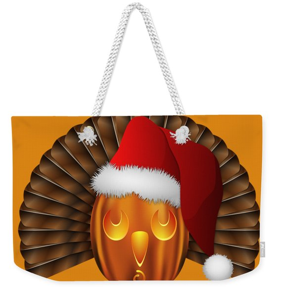 Hallowgivingmas Santa Turkey Pumpkin Weekender Tote Bag